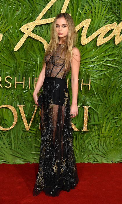 Lady Amelia Windsor wore a sheer dress by Christian Dior to the 2017 Fashion Awards. Prince William and Harry's cousin accessorized the edgy style with a mirrored clutch but kept her jewelry simple.