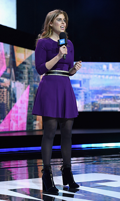 Princess Beatrice demonstrated how you can also let velvet accessories do the talking – and walking! Queen Elizabeth's granddaughter wore cool purple velvet zip-front boots to WE Day New York at Radio City Music Hall in April 2017. 