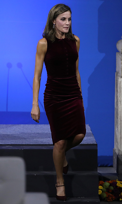 Velvet is one of the season's hottest trends – just ask Queen Letizia of Spain, who wore this burgundy velvet Felipe Varela dress on November 14. The royal was attending the World Cancer Leaders' Summit during her visit to Mexico City in November 2017.