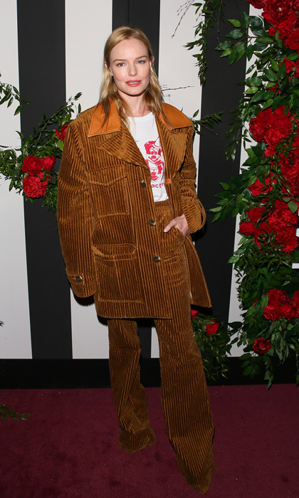 Kate Bosworth stepped out in an oversized corduroy suit for the LAND of distraction launch party at Chateau Marmont in West Hollywood.