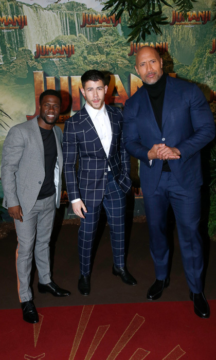 Kevin Hart, Nick Jonas and Dwayne Johnson were three dapper dudes at the <i>Jumanji : Welcome to the Jungle</i> premiere in Paris.