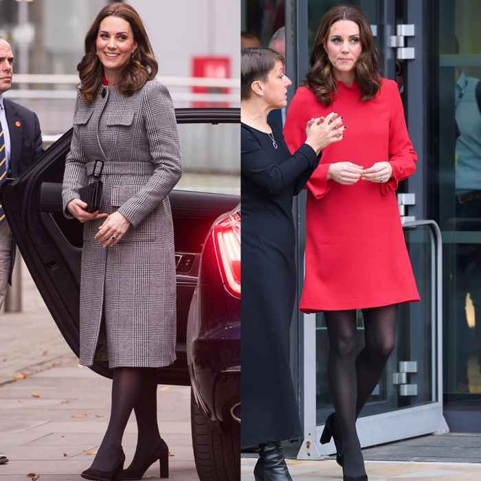 Kate looked festive for the holidays as she stepped out in Manchester on December 6  to attend the Children's Global Media Summit. The expectant royal donned a sophisticated houndstooth coat by L.K. Bennett that featured a crew neckline and military flap pockets. Beneath the coat, Princess Charlotte's mom wore a berry tunic dress with pleat details on the sleeves and a gathered funnel collar by GOAT. The Duchess completed her look with black tights and her TOD's block suede pumps.