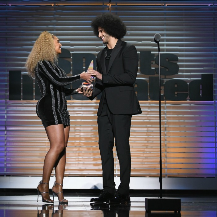 "Colin Kaepernick got the surprise of a lifetime when Beyoncé made an unexpected appearance onstage at the Sports Illustrated ""Sportsperson of the Year Awards"" on December 5. Queen Bey surprised the former 49ers quarterback, by presenting him with the Muhammad Ali Legacy Award, which is given to an athlete who uses their platform to promote change. In her speech, Beyoncé said: ""Colin took action with no fear of consequence or repercussion only hope to change the world for the better. To change perception, to change the way we treat each other, especially people of color."" 
