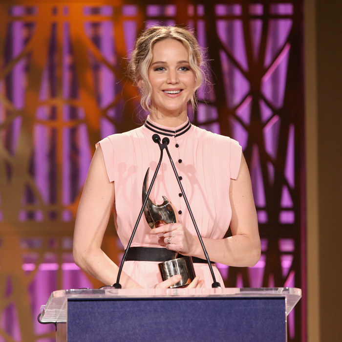 "The Hollywood Reporter cover star <a href=""https://us.hellomagazine.com/tags/1/jennifer-lawrence/""><strong>Jennifer Lawrence</strong></a> accepted an award during the 2017 Women in Entertainment Breakfast. The <i>Mother!</i> actress used the opportunity to thank the women such as Angelina Jolie, Gal Gadot and Shonda Rhimes, who took the stage before her during the event, and encouraged women to speak up for what is right.