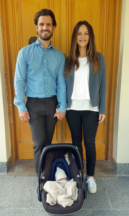 "Baby's first photo! Princess Sofia and Prince Carl Philip introduced their newborn Prince on September 1, 2017, a day after his birth, with a sweet snapshot as they departed Danderyd Hospital. The Swedish Royal Court released the family photo with a message that read: ""The Prince family has left the hospital and is now home at Villa Solbacken.""