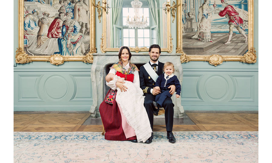 Three days after Princess Sofia and Prince Carl Philip baptized their son Prince Gabriel on December 1, the Swedish Royal Court released the official photos from the three-month-old's christening. The new images released on December 4 show the young Prince with his mother, who was dressed in a Swedish folk costume known as a Svenska folkdräkter for the occasion, his father and older brother Prince Alexander. 
