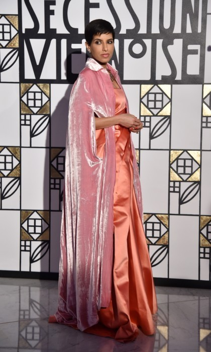 Saudi Arabian Princess Deena Aljuhani Abdulaziz was also in attendance at the 2017 Rose Ball. The former Vogue Arabia Editor-In-Chief turned heads in a pink velvet cape and silk gown.
