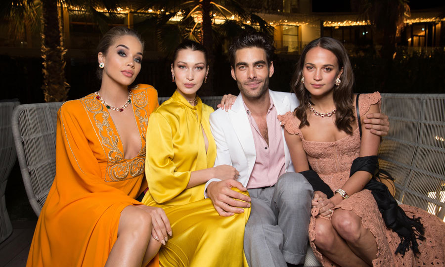 Spanish model-turned actor Jon Kortajarena was a lucky lad in the midst of Bella Hadid, Alicia Vikander and Jasmine Sanders at the opening of the Bulgari Resort Dubai.