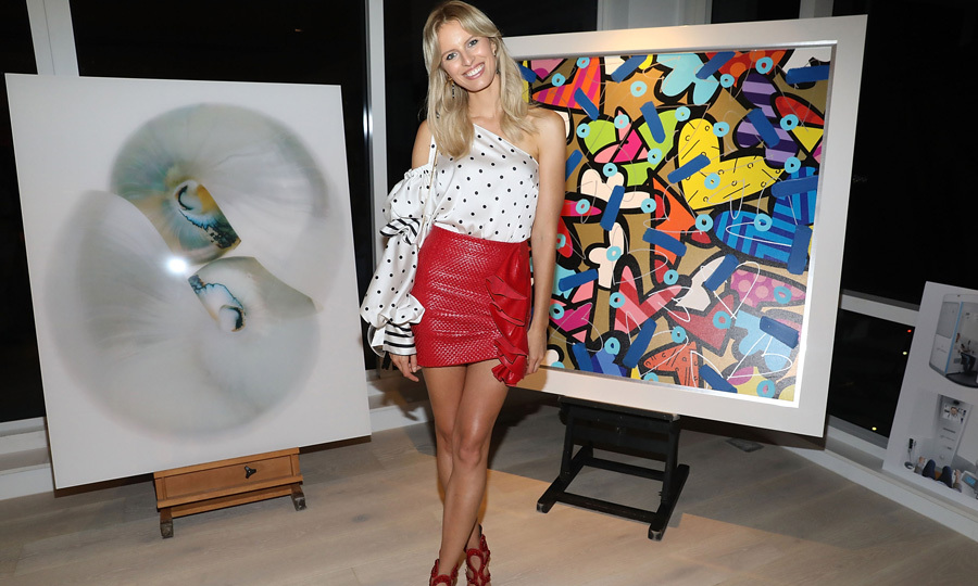 A work of art! Karolina Kurkova struck a pose at the Alexa Magazine Party held at the 1 Hotel & Homes South Beach during Art Basel Miami on December 7.