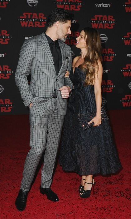 "Can't take my eyes off of you! The force was with Joe Manganiello and Sofia Vergara as they stepped out for a <i>Star Wars</i> date night. The 45-year-old <i>Modern Family</i> star was beautiful in a stunning navy dress, while her 40-year-old actor husband complemented her in a gray Peyman Umay suit. Sofia later took to Instagram to share a surprise that her man had in store for her — a sweet inscription on the inside of his suit collar that read: ""I LOVE SOFIA."" 