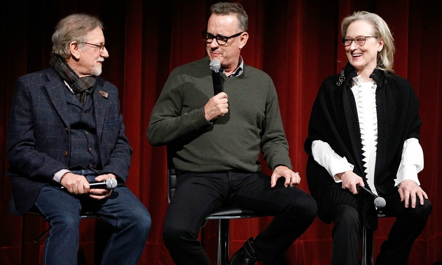 Director and producer Steven Spielberg joined his cast Tom Hanks and Meryl Streep on stage at The Academy of Motion Picture Arts & Sciences Official Academy Screening of their upcoming film <i>The Post</i>. The trio discussed the movie, along with fellow co-star fellow co-star Bob Odenkirk, at the MOMA Celeste Bartos Theater on December 7 in NYC. 