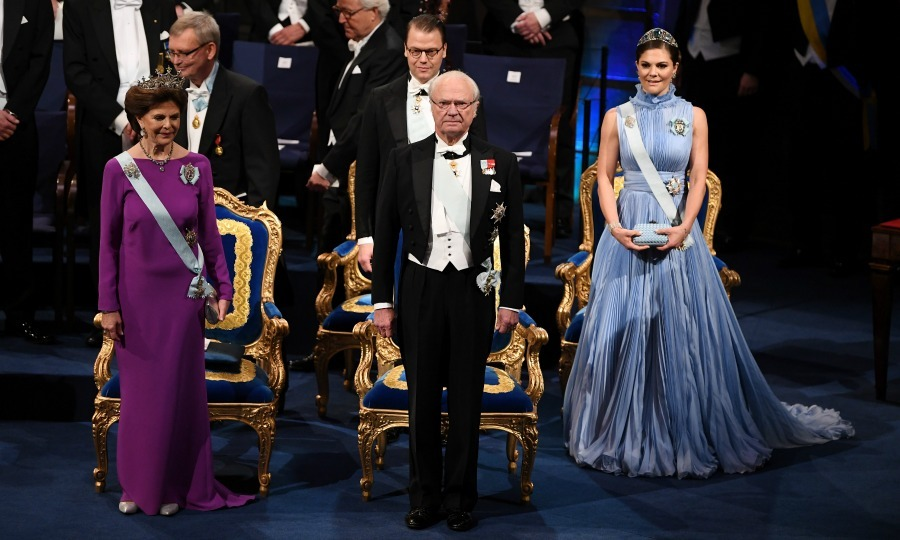 Queen Silvia and King Carl XVI Gustaf had a front row seat for the Nobel Prize Awards.The reigning monarch and his wife were joined by their three children: Crown Princess Victoria, Princess Madeleine and Prince Carl Philip, at the ceremony, all of them looking striking in their formal attire.
