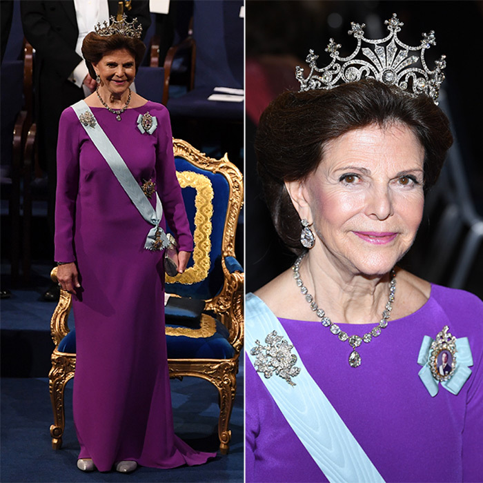 Queen Silvia was regal in purple and the Victorian 9-prong  tiara, one of the Swedish royal's favorites. The monarch's wife also sparkled in diamond earrings, a necklace and brooch from the Braganza set.