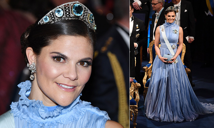 The Swedish royals had a chance to show off some of their finest gowns and gems at the Nobel Prize 2017 banquet in Stockholm on December 10. Crown Princess Victoria was absolutely stunning in a cornflower blue gown for the gala. The look was perfected with her eye-popping jewelry: the diamond and aquamarine Kokoshnik tiara and diamond floral-motif earrings.
