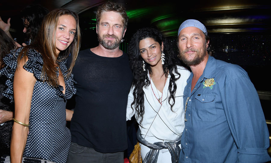 Matthew McConaughey and Camila Alves had a date night with Gerard Butler and his girlfriend Morgan Brown at the Duran Duran concert for SiriusXM listeners at the Faena Theater in Miami Beach.