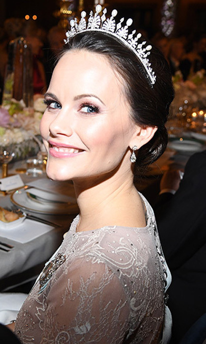 Princess Sofia wore a pale pink embroidered Ida Lanto gown and her wedding tiara to the 2017 Nobel Prize Award ceremony on December 10. While the piece featured emeralds on the former model's wedding day, for the Nobel gala the colorful gems had been replaced with classic pearls. The tiara was a gift from Sofia's in-laws, King Carl XVI Gustaf and Queen Silvia.