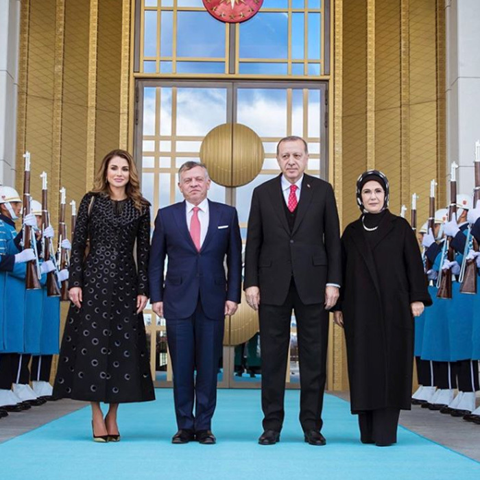 "Queen Rania and King Abdullah II of Jordan, left, traveled to Turkey, where they met with the country's president and first lady. Sharing a photo on December 6 with the couple, Her Majesty wrote, ""Grateful for the wonderful hospitality of Turkish President Erdogan and First Lady Mrs. Emine Erdogan during a short working trip to Ankara with His Majesty #Jordan #LoveJO #Turkey #Ankara.""