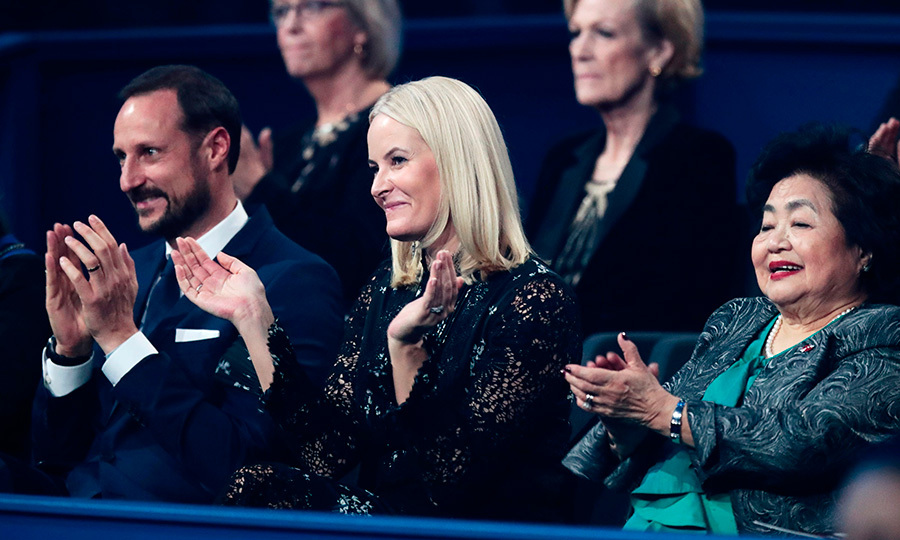 Crown Princess Mette-Marit of Norway, center, and husband Crown Prince Haakon of Norway were joined by ICAN campaigner and Hiroshima survivor Setsuko Thurlow at the Nobel Peace Prize Concert. Peace prize laureates ICAN (International Campaign to Abolish Nuclear Weapons) were honored at the December 11 event.