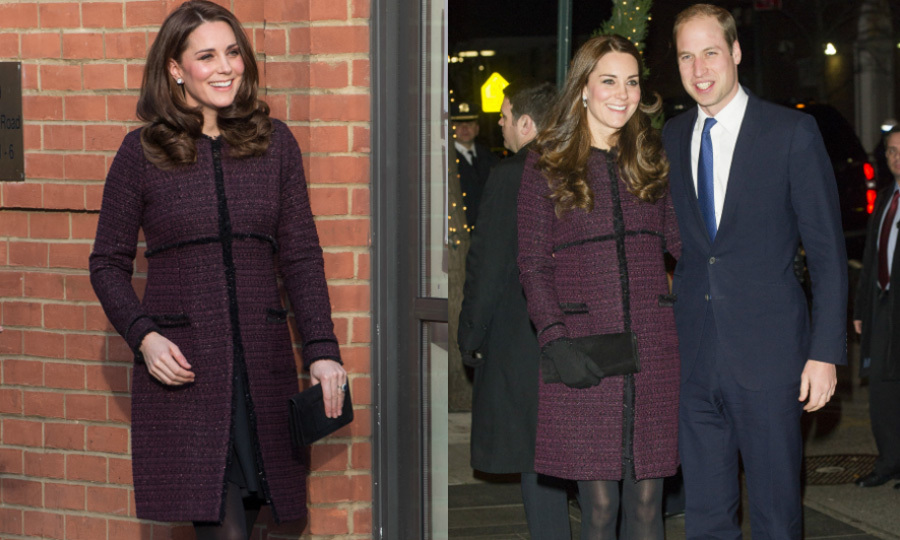 The Duchess of Cambridge recycled her plum Seraphine tweed coat that she first wore during her trip to New York City in 2014. The pregnant royal stepped out on December 12 in the coat to attend a children's party with Magic Mums in North Kensington.