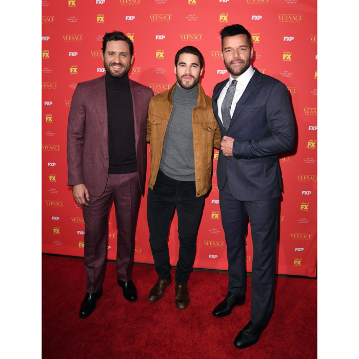 The men of the new FX series <i>The Assassination of Gianni Versace: American Crime Story</i>, Édgar Ramírez, Darren Criss and Ricky Martin looked dapper at the show's screening at the Metrograph in NYC on December 11.