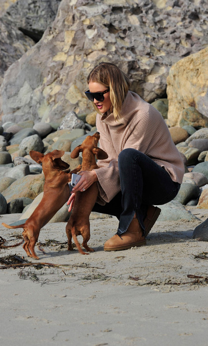 Rosie Huntington-Whiteley spent time with her pups in Malibu. The new mom opted for more her cozy Uggs and an oversized sweater for the outing on December 11.