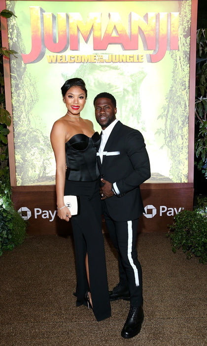 Kevin Hart and Eniko Parrish left their newborn son at home for their glam date night to the premiere of Columbia Pictures' <i>Jumanji: Welcome To The Jungle</i> in Hollywood.