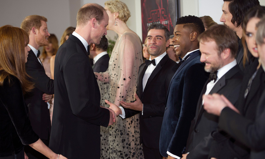 Prince William reunited with <i>Star Wars: The Last Jedi</i> actors Oscar Isaac and John Boyega at the London premiere of the film on December 12. The Duke was seen exchanging laughs with the British actor and American-Guatemalan actor Oscar Isaac. William and Harry were also presented with their very own Stormtrooper helmets.