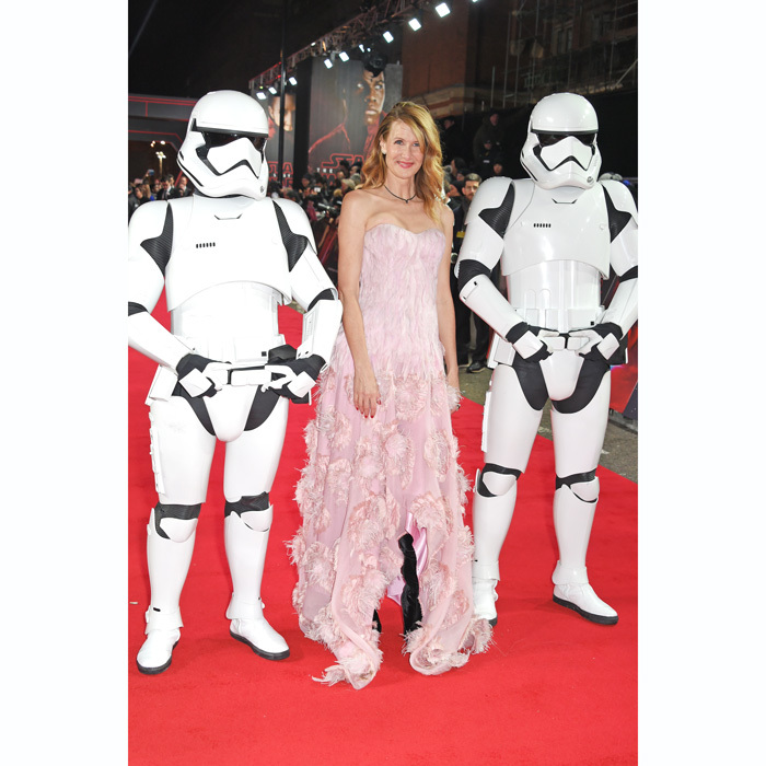 Laura Dern was accompanied by two Stormtroopers at the London premiere of <i>Star Wars: The Last Jedi</i> at the Royal Albert Hall. The <i>Big Little Lies</i> actress wore a pale pink Alexander McQueen dress, Christian Louboutin shoes and Ara Vartanian jewelry.