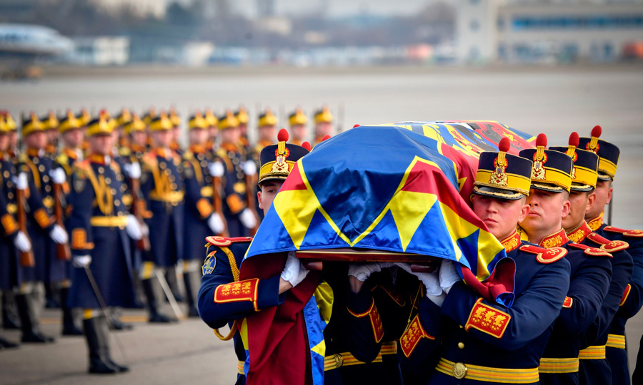 Guards carried the body of the late King Michael I of Romania at Henry Coanda International airport in Otopeni city, next to Bucharest, on December 13. The King passed away at the age of 96 on December 5.