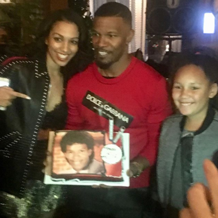 "Fifty never looked so fly! Jamie Foxx was presented with a special birthday cake that read ""Happy 25x2"" by his two daughters Corinne and Annalise during a celebration for his milestone year at the Highlight Room in L.A. After the intimate celebration, Jamie was joined by love Katie Holmes and a host of other famous friends at Paramount Pictures for another party.