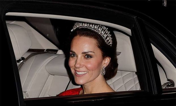 In December 2016, Duchess Kate dazzled at the Diplomatic Reception held at Buckingham Palace wearing the Cambridge Lover's Knot Tiara. The sparkling headpiece was a favorite of Prince William's late mother Princess Diana. The stunning piece was created by jewelers Garrard in 1914 for Queen Mary, from pearls and diamonds already in her family's possession. 