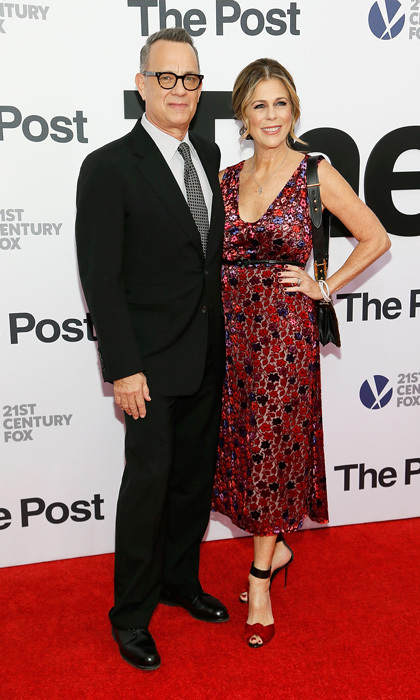 Rita Wilson and Tom Hanks were a dazzling couple on the red carpet of <i>The Post</i> at the Newseum in Washington, D.C. 