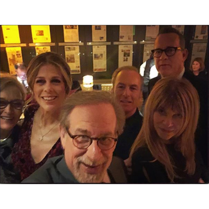 "The duo was joined by Meryl Streep, Kate Capshaw, Steven Spielberg and Bob Odenkirk during <i>The Post</i> premiere in D.C. She wrote along with the selfie, ""#stevenSpielberg knows how to take a selfie. #merylstreep @odenkirkstagram @tomhanks #katecapshaw #thepost #actors #actorslife""
