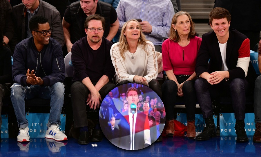 Rounding out the glittering list of celebrities who attended the Knicks-Thunder game, was: Chris Rock, Michael J. Fox, Tracy Pollan, director Grethe Holby and her son actor Ansel Elgort. The stars all had a front row seat for the action-packed evening. Ansel had his mom's support as he took to the mic to sing the National Anthem!  