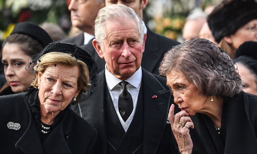 Prince Charles joined mourners including Queen Anne-Marie of Greece, left, and Queen Sofia of Spain, right, at King Michael I of Romania's funeral, held inside the onetime Royal Palace in Bucharest on December 16. The former King, a royal cousin of Queen Elizabeth, died on December 5 at the age of 96.