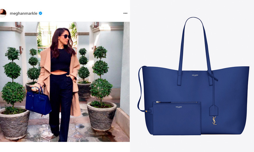 Just like her former <I>Suits</I> character, attorney Rachel Zane, Meghan has never been able to resist an office-worthy, roomy tote Just look at that gorgeous Saint Laurent design in her Instagram post, left. The Saint Laurent royal blue shopping bag, right, is a chic option, and comes with a metal YSL charm and removable leather case.