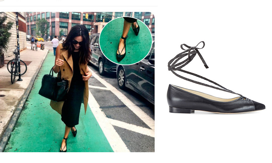 For your special someone who is fashionable but always on the go, be like Meghan and grab a pair of flats from Sarah Flint. The 'Lily', handcrafted in black lambskin, has leather lining and a sweet cotton tie detail.
