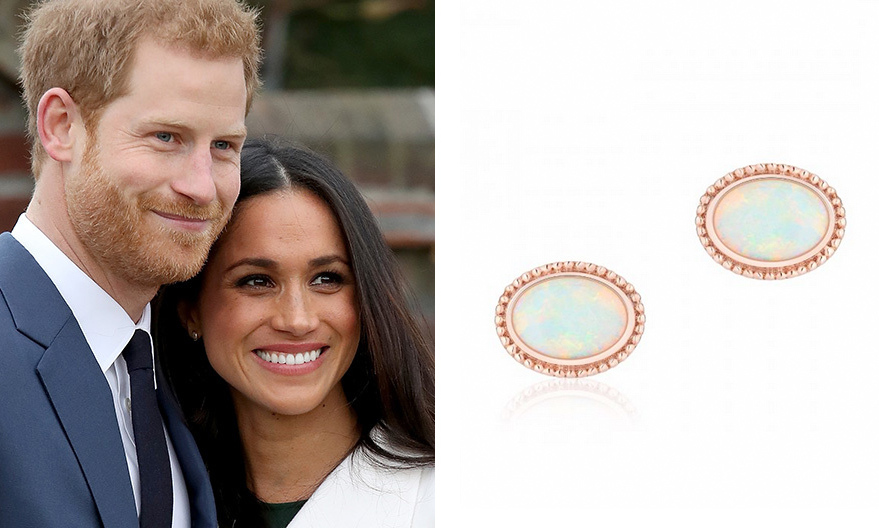 Looking for a Meghan-inspired gift that's truly romantic? From Birks' 'Les Plaisirs de Birks' luxury collection, these 18k rose gold and white opal earrings, worn by Meghan for her first official photo shoot with new fiancé Prince Harry, exude romance. And even better, there is a gorgeous necklace to match.