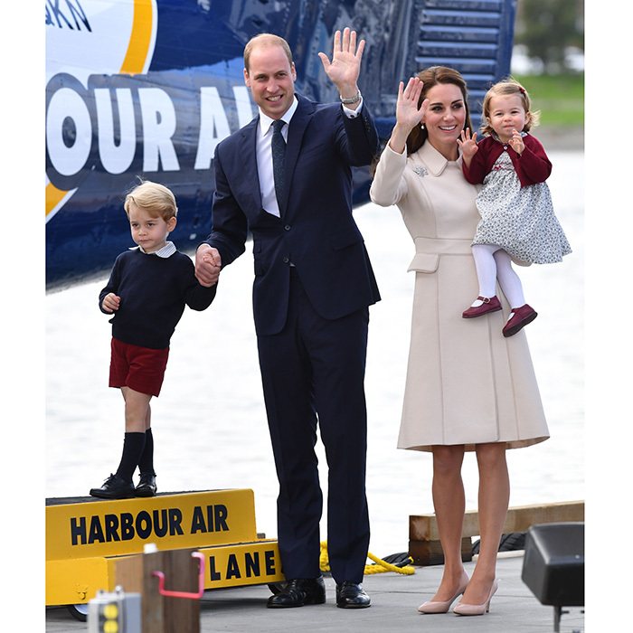 Back in October 2016, we loved the Cambridges in burgundy, navy and cream! The family, including Kate in another Catherine Walker design, waved goodbye to Canada in Victoria, BC after completing their royal tour of the North American country as a family.