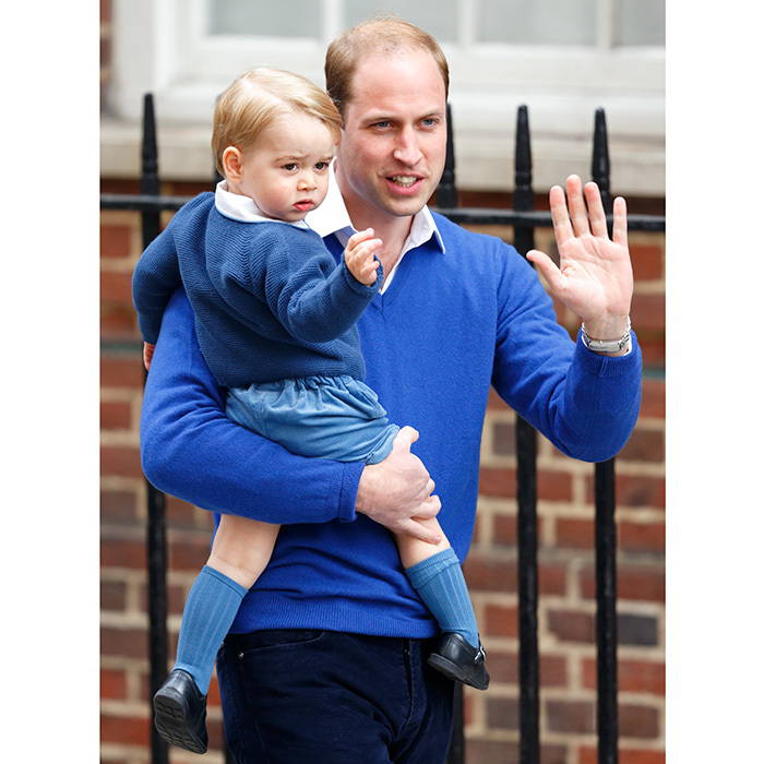 Prince William doesn't want to be left out of the parent-child fashion pairings! The future king and his little prince made us swoon when they arrived in matching sweaters and white collared shirts to see newborn Princess Charlotte and mom Kate at the Lindo Wing at St Mary's Hospital on May 2, 2015 in London.