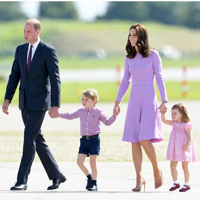 On day three of their visit to Germany in July 2017, the Cambridges showed that purple does truly reign. While Duchess Kate was in lilac Emilia Wickstead – and the kids' outfits had touches of the hue – Prince William's purple tie gave his outfit a subtle pop of color.