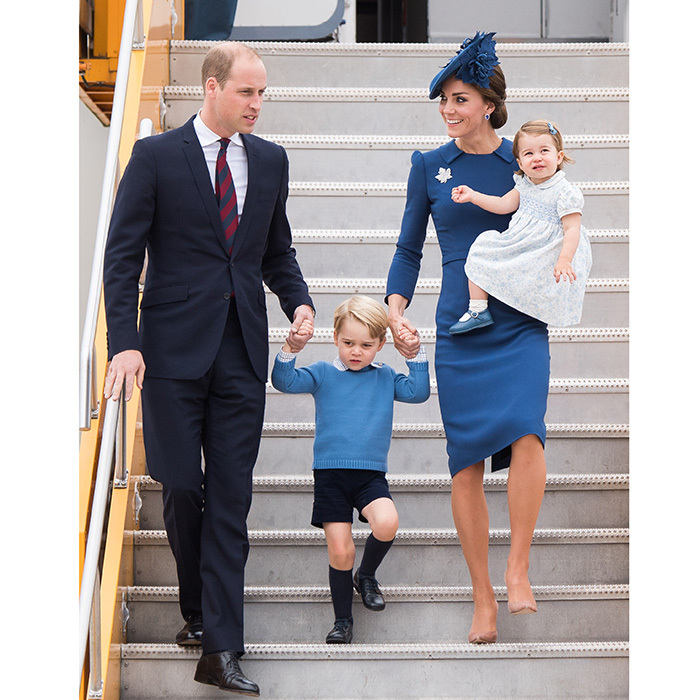 "The eight-day visit to Canada also provided us with this gorgeous picture of the elegant Cambridges disembarking from their plane in Victoria, BC on September 24, 2016. Duchess Kate was super chic in tailored blue <a href=""https://us.hellomagazine.com/tags/1/jenny-packham/""><strong>Jenny Packham</strong></a> and Prince William added a touch of red in his tie.