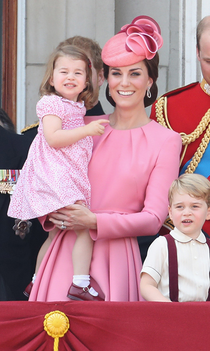 "Like mother, like daughter! Duchess Kate, in <a href=""https://us.hellomagazine.com/tags/1/alexander-mcqueen/""><strong>Alexander McQueen</strong></a>, and Princess Charlotte were pretty in pink on the balcony of Buckingham Palace during the Trooping the Colour parade in June 2017.