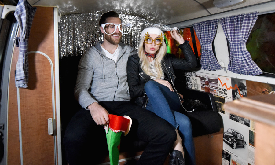 Julianne Hough & Brooks Laich had some fun during the Volkswagen Holiday Drive-In Event at Raleigh Studios in Los Angeles where they watched <i>Elf</i>.