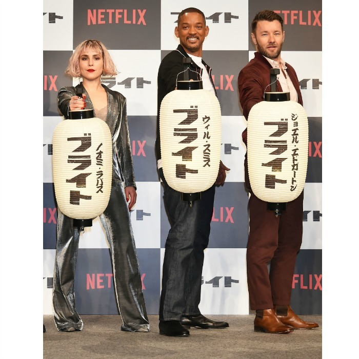 Noomi Rapace, Will Smith and Joel Edgerton brought light to the press conference for their upcoming Netflix film 'Bright' at the Ritz-Carlton on December 20 in Tokyo, Japan. The trio happily posed for photos ahead of the movie's December 22 release.