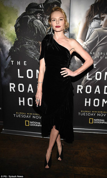 "Kate Bosworth turned heads at the final episode screening of National Geographic's <i>The Long Road Home</i> in Los Angeles on December 20. The star rocked an off-the-shoulder black number, paired with Jimmy Choo's ""Shar"" sandal and carried the brand's Vivienne clutch.
