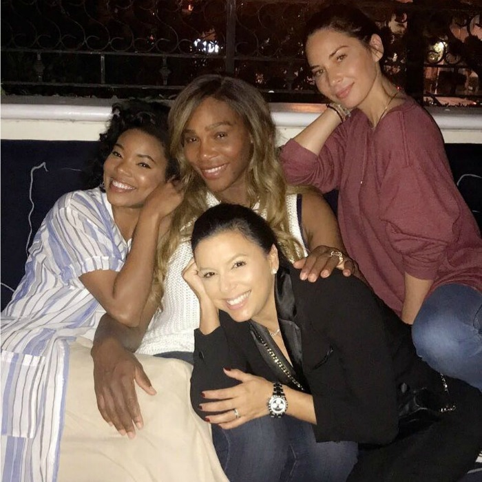 "Holiday girls night! Eva Longoria Baston took to Instagram to share a sweet picture with her and besties: new mom Serena Williams, Gabrielle Union-Wade and Olivia Munn. ""Miami Nights with these beauties!"" the star, who recently announced she was pregnant, wrote. ""And why does @gabunion look like she's 12 yrs old?? #Friends #ForeverYoung""