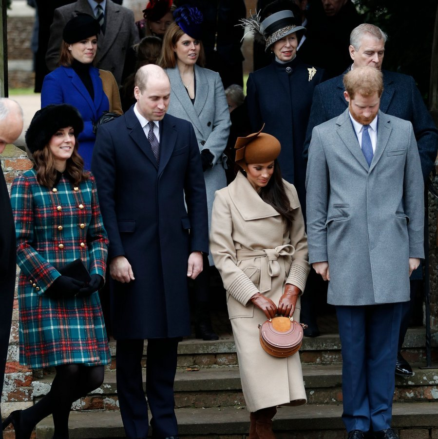The Christmas Day event gave Prince Harry's fiancée Meghan Markle the chance to show off her royal curtsy for the first time in public. Future sister-in-law Kate also curtseyed to the Queen while Princes William and Harry bowed their heads in respect. Behind the foursome are, left to right, Princess Eugenie, Princess Beatrice, Princess Anne and Beatrice and Eugenie's dad, Prince Andrew.