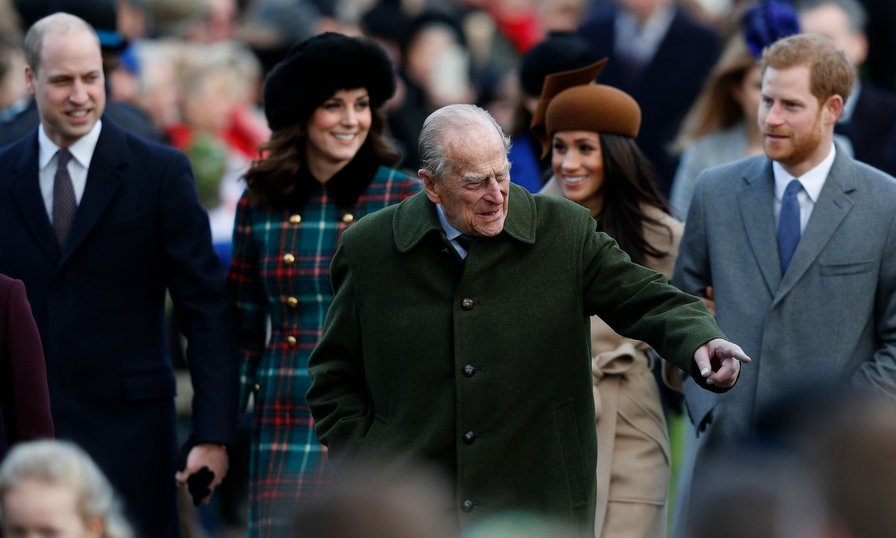 Prince Philip walked ahead of the royals now known as the Fantastic Four – left to right, Prince William, Kate Middleton, Meghan Markle and her fiancé Prince Harry. The event marked Meghan's first Christmas with the royals as she plans to marry Harry in May 2018. 