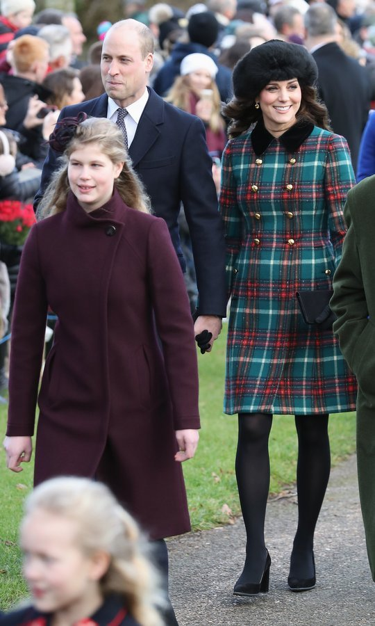 The Duke and Duchess of Cambridge walked behind Lady Louise Windsor, the daughter of Prince Edward and Sophie Wessex. The 14-year-old royal wore a deep plum coat and matching fascinator. 
